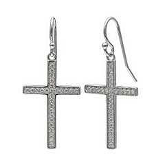 PRIMROSE Sterling Silver Cubic Zirconia Pave Cross Drop Earrings