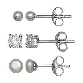 PRIMROSE Sterling Silver Freshwater Cultured Pearl & Cubic Zirconia Stud Earring Set
