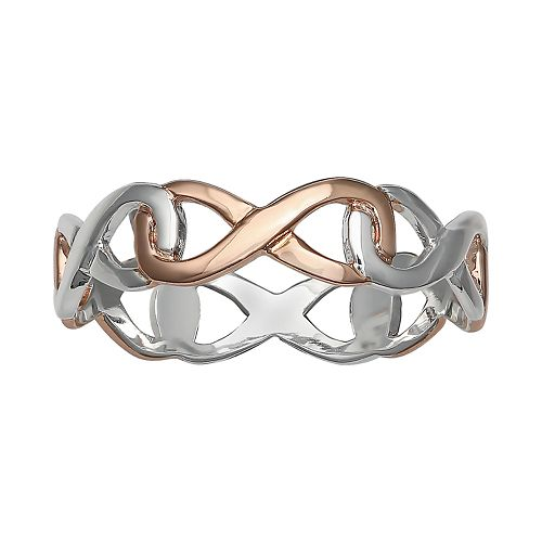 PRIMROSE Two Tone Sterling Silver Interlocking Infinity Ring