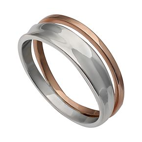 PRIMROSE Two Tone Sterling Silver Concave Double Band Ring