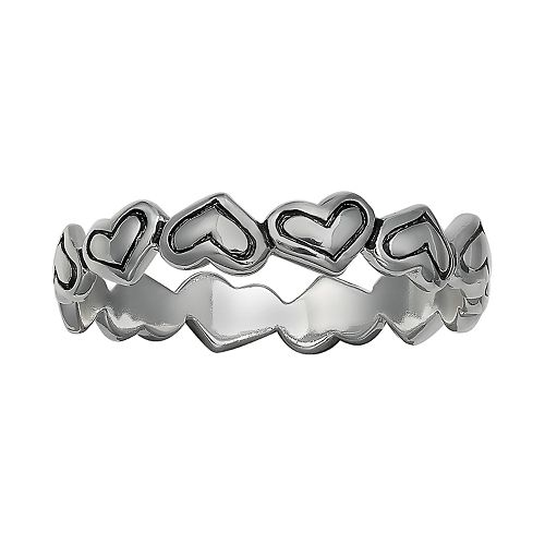 PRIMROSE Sterling Silver Oxidized Heart Ring