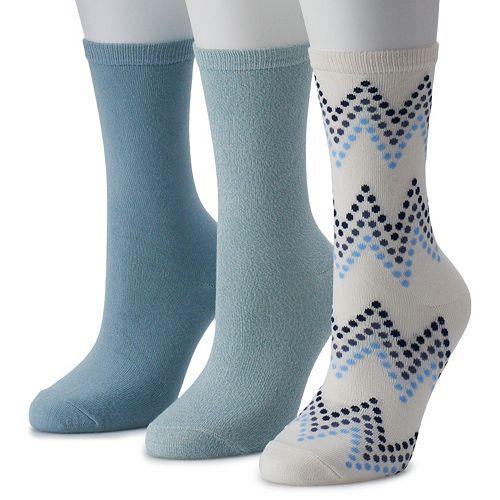 Women's SONOMA Goods for Life™ 3-Pack Soft & Comfortable Gradient Chevron Crew Socks
