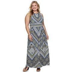 Plus Size Suite 7 Printed Pleat Neck Maxi Dress