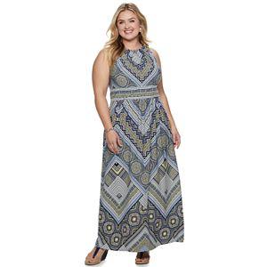 Plus Size Suite 7 Printed Surplice Maxi Dress