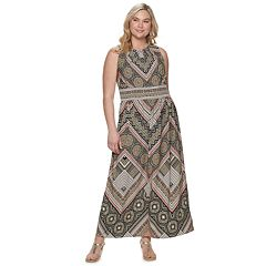 Plus Size Suite 7 Printed Pleat Neck Maxi Dress