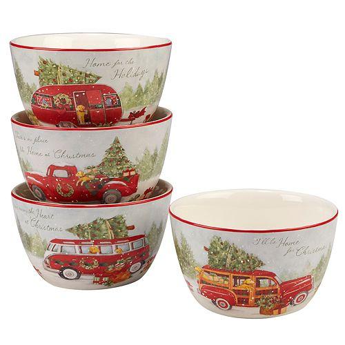 Certified International Home for Christmas 4-piece Ice Cream Bowl Set