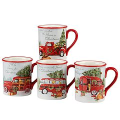 Certified International Home for Christmas 4-piece Mug Set