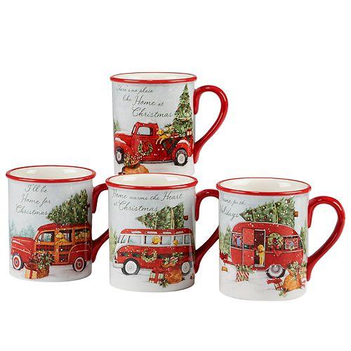 Certified International Home for Christmas 4-piece Mug Set