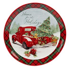 Certified International Home For Christmas Round Serving Platter