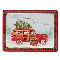 Certified International Home For Christmas Rectangle Serving Platter