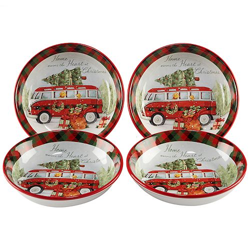 Certified International Home for Christmas 4-piece Soup / Pasta Bowl Set