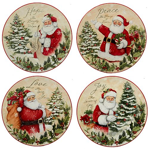 Certified International Holiday Wishes 4-piece Dessert Plate Set