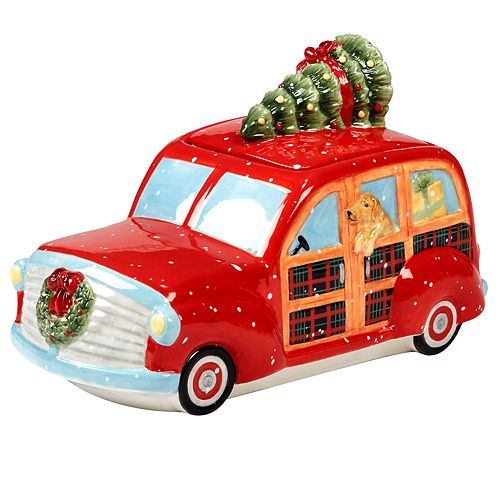 Certified International Home For Christmas Truck Cookie Jar