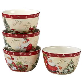 Certified International Holiday Wishes 4-piece Ice Cream Bowl Set