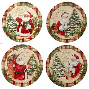 Certified International Holiday Wishes 4-piece Canape Plate Set