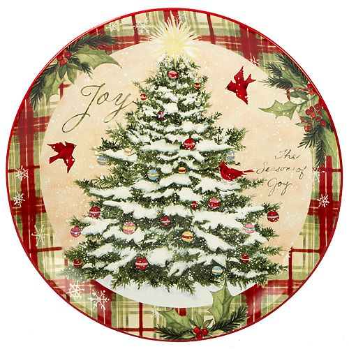 Certified International Holiday Wishes Round Serving Platter