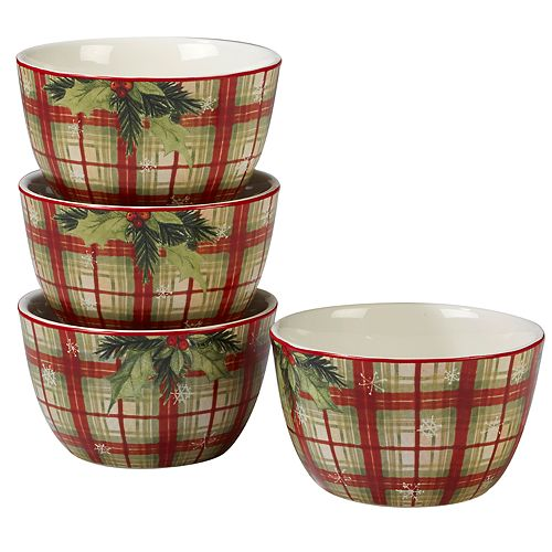 Certified International Holiday Wishes Plaid 4-piece Ice Cream Bowl Set