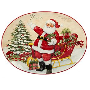 Certified International Holiday Wishes Plaid Oval Platter