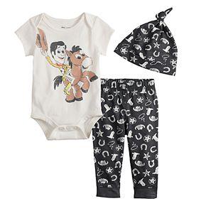 Disney/Pixar Toy Story Woody & Bullseye Baby Boy Graphic Bodysuit, Print Pants & Hat Set by Jumping Beans®