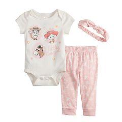 Disney/Pixar Toy Story Woody, Sherriff Jessie & Bullseye Baby Girl Graphic Bodysuit, Print Pants & Headband Set by Jumping Beans®