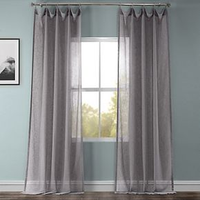 EFF Solid Faux Linen Sheer Window Curtain