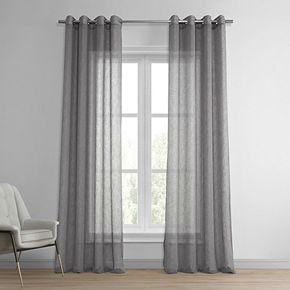 EFF Grommet Solid Faux Linen Sheer Window Curtain