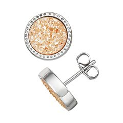 Harper Stone Silver Plated Drusy Round Stud Earrings