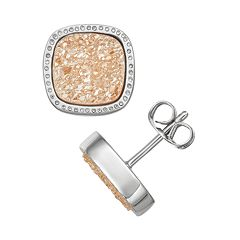Harper Stone Silver Plated Drusy Cushion Stud Earrings