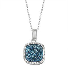 Harper Stone Silver Plated Drusy Cushion Pendant Necklace