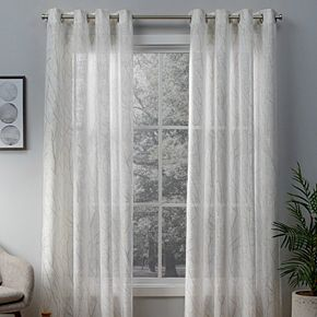 Exclusive Home 2-pack Woodland Printed Metallic Branch Sheer Window Curtains