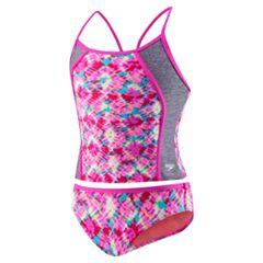 Girls 7-16 Speedo Printed Splice Tankini & Bottoms Swimsuit Set