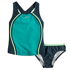 d69beb5b0d Girls 7-16 Speedo Sport Splice Tankini Top & Bottoms Swimsuit Set