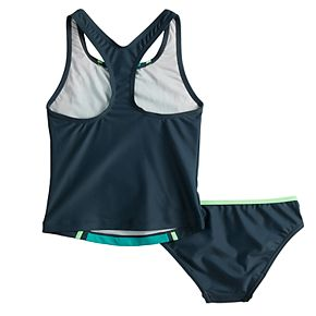 Girls 7-16 Speedo Sport Splice Tankini Top & Bottoms Swimsuit Set