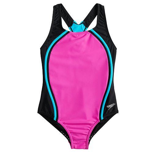 a6a8b371c9 Girls 7-16 Speedo Sport Splice One-Piece Swimsuit