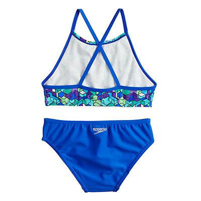 Girls 7-16 Speedo High Neck Crossback Camikini Top & Bottoms Swimsuit Set