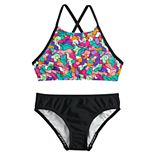 Girls 7-16 Speedo High Neck Crossback Camikini Top & Bottoms Swimsuit Set