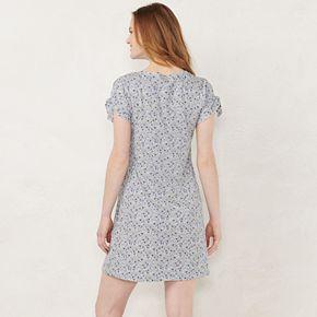 Petite LC Lauren Conrad Print Tie-Sleeve Swing Dress