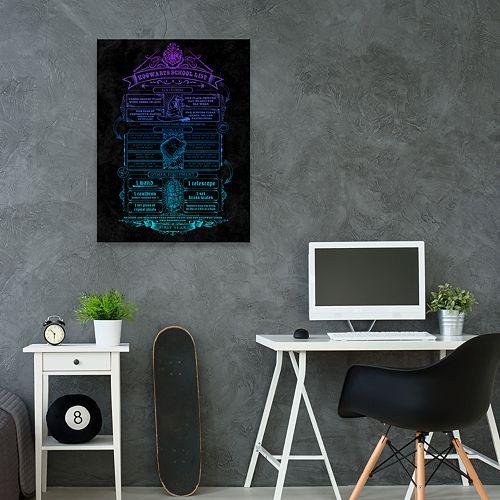 Artissimo Harry Potter Hogwarts School List Metallic Canvas Wall Art
