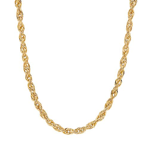 Everlasting Gold 10K Gold & Diamond Cut Textured Rope Necklace