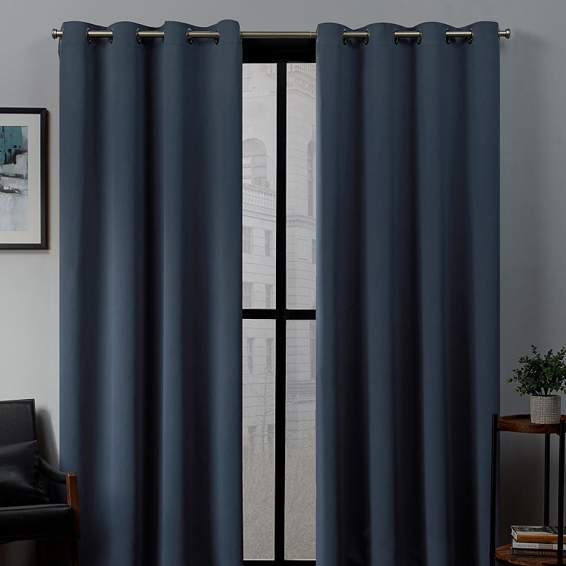 Exclusive Home 2-pack Sateen Twill Woven Blackout Window Curtains, Blue, 52X96