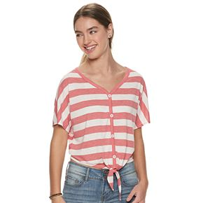 Juniors' SO® Printed Button Front Top