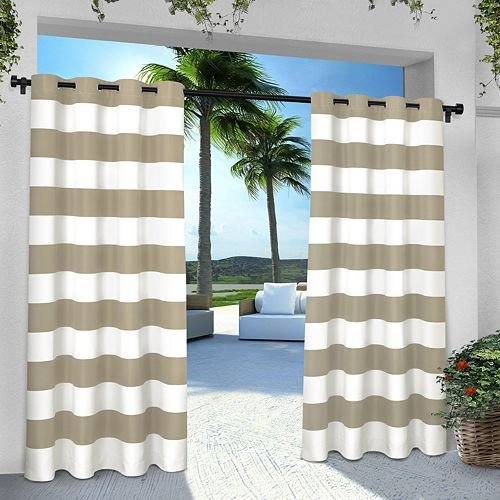 Exclusive Home 2-pack Indoor/Outdoor Stripe Cabana Window Curtains