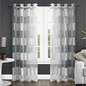 Exclusive Home 2-pack Navaro Striped Sheer Window Curtains