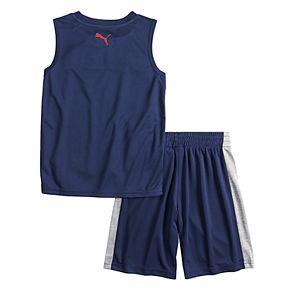 Boys 4-7 PUMA Colorblock Muscle Tee & Shorts Set