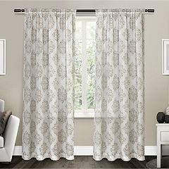 Exclusive Home 2-pack Nagano Medallion Belgian Sheer Window Curtains