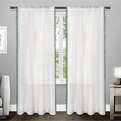 Exclusive Home 2-pack Tassels Embellished Sheer Window Curtains