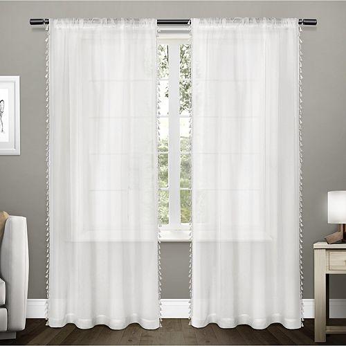 Exclusive Home 2-pack Tassels Embellished Sheer Window Curtains