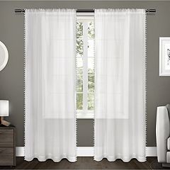 Exclusive Home 2-pack Pom Pom Applique Bordered Textured Sheer Window Curtains