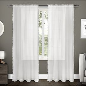 Exclusive Home Exclusive Home Itaji Sheer Rod Pocket Top Curtain Panel Pair, Snowflake, 54x96