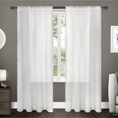 Exclusive Home Exclusive Home Itaji Sheer Rod Pocket Top Curtain Panel Pair, Snowflake, 54x96